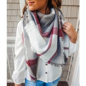 Red & Gray Fringed Scarf